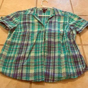Tops - Turquoise plaid shirt